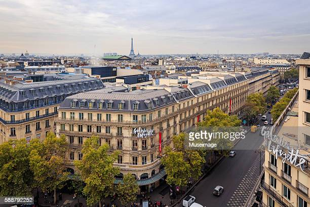 Urban streetscape with distant Eiffel Tower in Paris