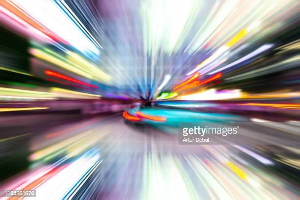 urban stunning abstract picture with speed motion. - urban sprawl stock pictures, royalty-free photos & images