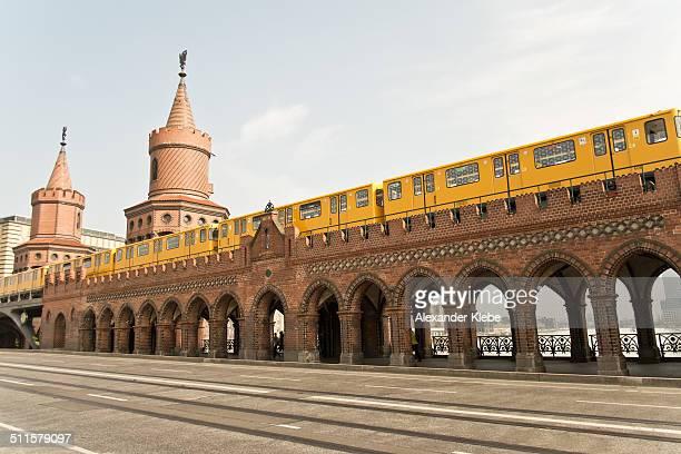 Urban view: Oberbaumbrücke and train in Berlin