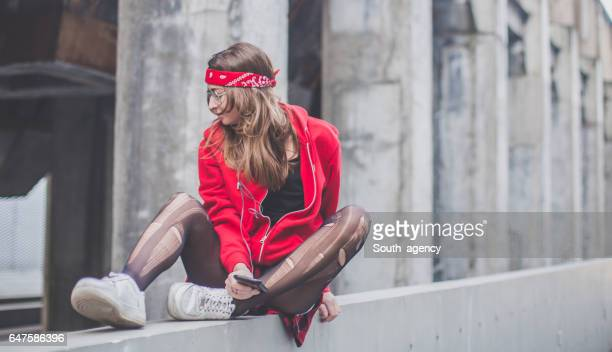 Urban woman in red