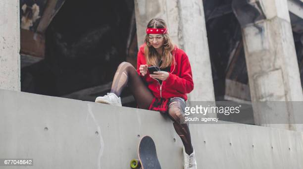 Urban young lady in red