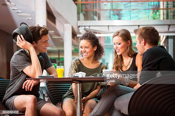 Urban young people in college cantine