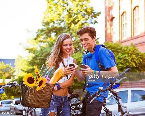 Urban young people using smart phones