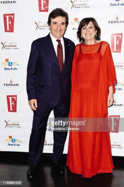 Urbano Cairo and Marisa Deimichei attend the F Magazine Party at Filippo La Mantia Oste e Cuoco restaurant on July 03, 2019 in Milan, Italy.
