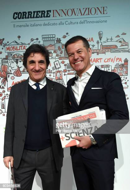 Urbano Cairo CEO of RCS Media Group and Director of Corriere Innovazione Massimo Sideri pose during the launch of Corriere Innovazione at the...