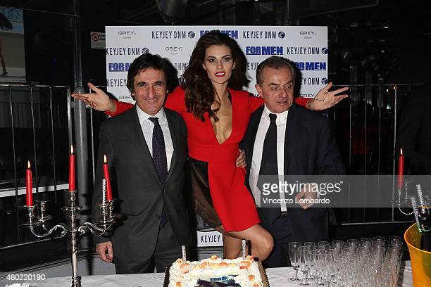 Urbano Cairo Dayane Mello and Andrea Biavardi attend the Formen Maxi Calendar Presentation on December 9 2014 in Milan Italy