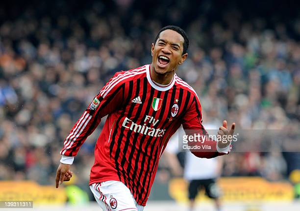 Urby Emanuelson of AC Milan celebrates scoring their second goal during the Serie A match between AC Cesena and AC Milan at Dino Manuzzi Stadium on...