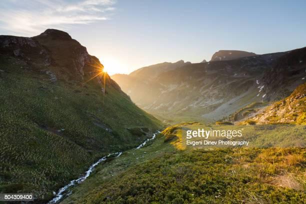 Rila Mountain, Bulgaria - Juny 2017: Urdini lakes, Sunrise over the mountain valley