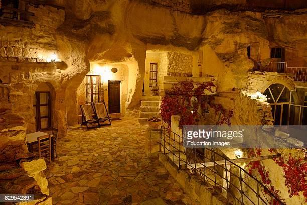 Urgup Evi rock house cave hotel at night in Cappadocia Turkey