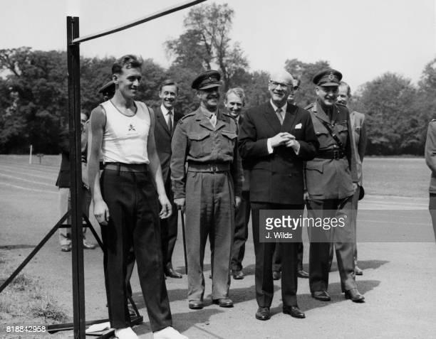 Urho Kekkonen, the President of Finland, visits the Royal Military Academy at Sandhurst, UK, and is met by Major General George Gordon-Lennox ,...