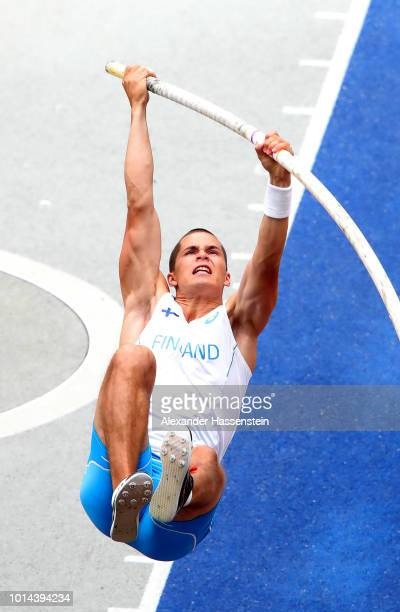Urho Kujanpaa of Finland competes in the Men's Pole Vault Qualifying round during day four of the 24th European Athletics Championships at...
