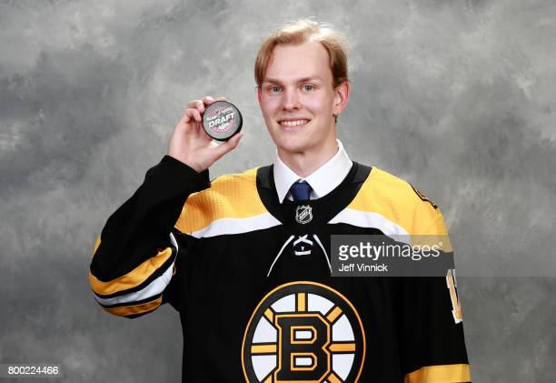 Urho Vaakanainen 18th overall pick of the Boston Bruins poses for a portrait during Round One of the 2017 NHL Draft at United Center on June 23 2017...