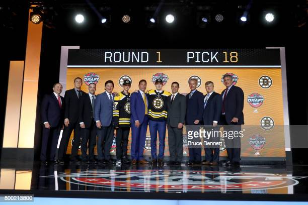 Urho Vaakanainen poses for photos after being selected 18th overall by the Boston Bruins during the 2017 NHL Draft at the United Center on June 23...