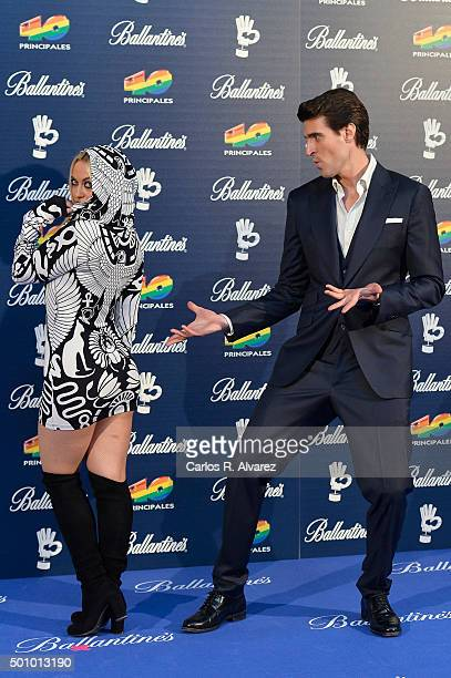 Uri Sabat and Daniela Blume attend the 40 Principales Awards 2015 photocall at the Barclaycard Center on December 11, 2015 in Madrid, Spain.