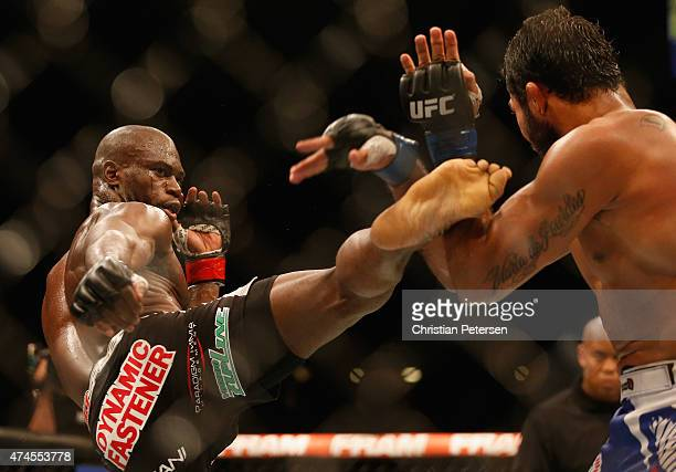 Uriah Hall kicks Rafael Natal of Brazil in their middleweight bout during the UFC 187 event at the MGM Grand Garden Arena on May 23 2015 in Las Vegas...