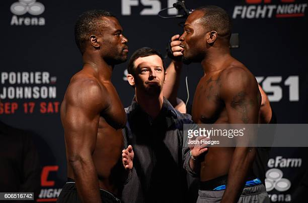 Uriah Hall of Jamaica and Derek Brunson of the United States face off during the UFC Fight Night weighin at the State Farm Arena on September 16 2016...