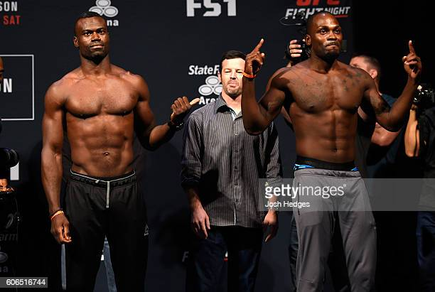 Uriah Hall of Jamaica and Derek Brunson of the United States pose for the media during the UFC Fight Night weighin at the State Farm Arena on...
