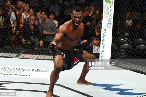 Uriah Hall of Jamaica celebrates after defeating Krzysztof Jotko of Poland in their middleweight bout during the UFC Fight Night event inside the PPG...
