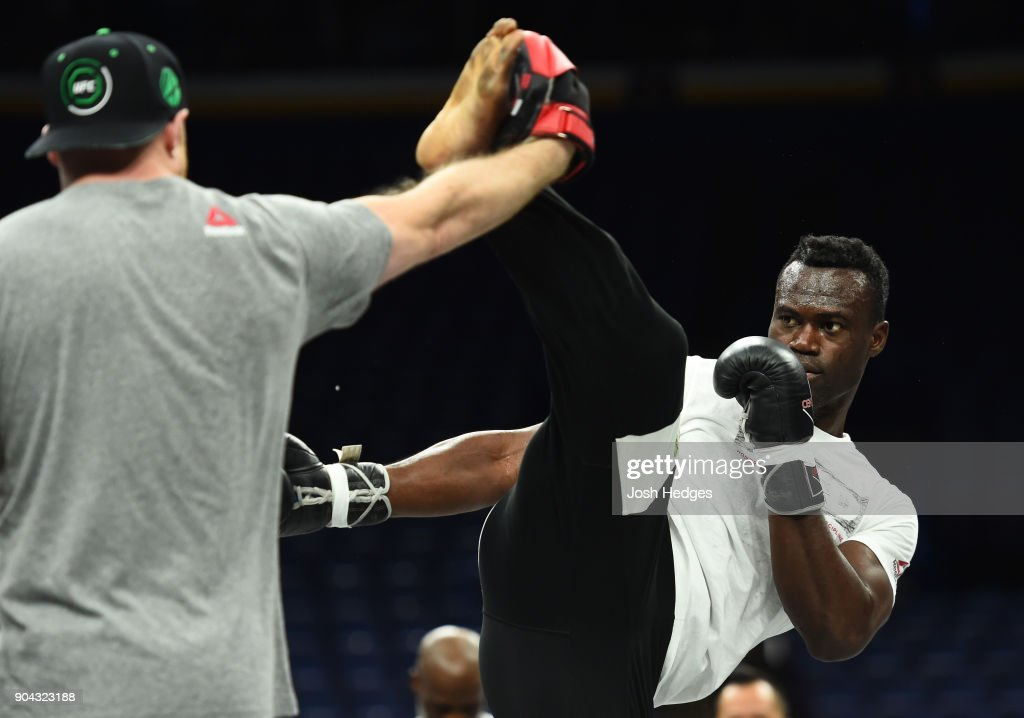 Uriah Hall of Jamaica holds an open workout for fans and media at the Scottrade Center on January 12, 2018 in St. Louis, Missouri.