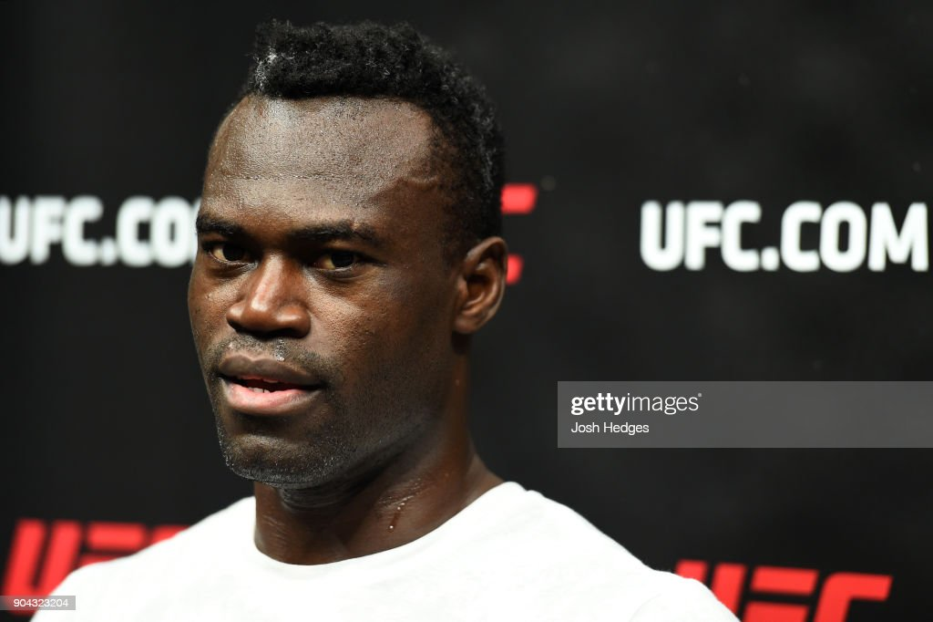 Uriah Hall of Jamaica interacts with media after a workout at the Scottrade Center on January 12, 2018 in St. Louis, Missouri.