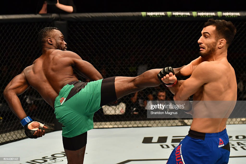 Uriah Hall of Jamaica kicks Gegard Mousasi of Iran in their middleweight bout during the UFC Fight Night at the SSE Arena on November 19, 2016 in Belfast, Northern Ireland.