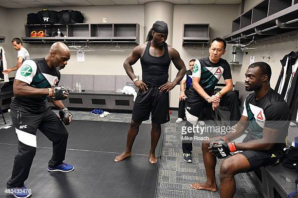 Uriah Hall of Jamaica rests backstage during the UFC Fight Night event at Bridgestone Arena on August 8 2015 in Nashville Tennessee