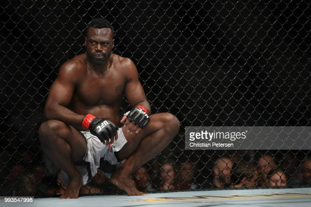 Uriah Hall of Jamaica rests before facing Paulo Costa of Brazil in their middleweight fight during the UFC 226 event inside TMobile Arena on July 7...