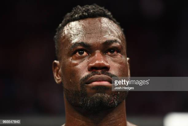 Uriah Hall of Jamaica stands in the octagon after his loss to Paulo Costa of Brazil in their middleweight fight during the UFC 226 event inside...