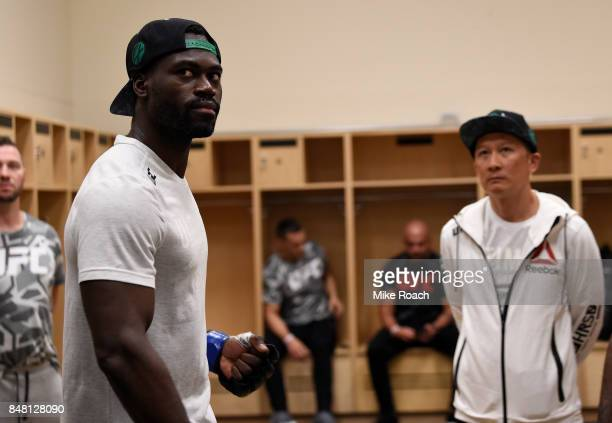 Uriah Hall of Jamaica warms up backstage during the UFC Fight Night event inside the PPG Paints Arena on September 16 2017 in Pittsburgh Pennsylvania