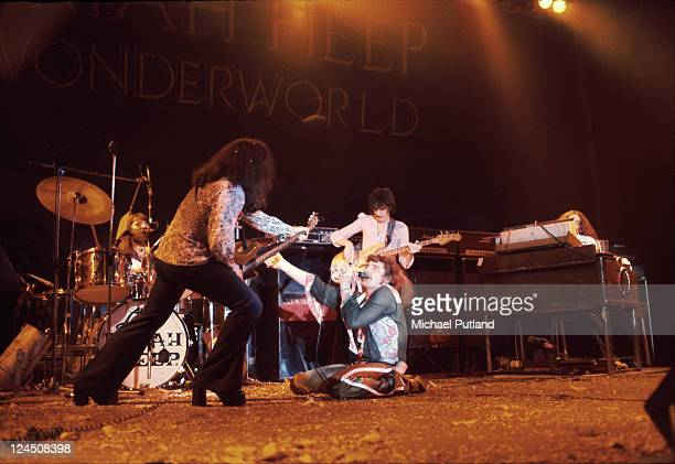 Uriah Heep perform on stage at Hammersmith Odeon London 27th October 1974 LR Lee Kerslake Mick Box David Byron Gary Thain Ken Hensley