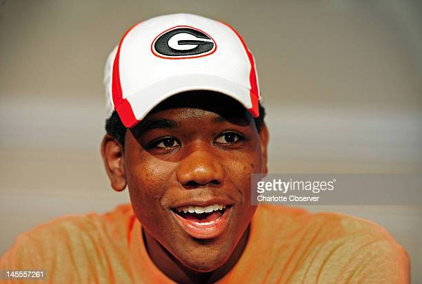 Uriah LeMay smiles as he answers questions following his announcement that he will attend the University of Georgia, following his senior year at...