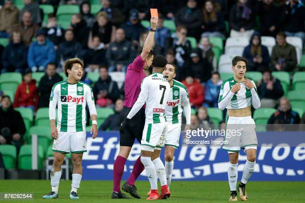 Uriel Antuna of FC Groningen receives a red card from referee Jeroen Manschot during the Dutch Eredivisie match between FC Groningen v Vitesse at the...