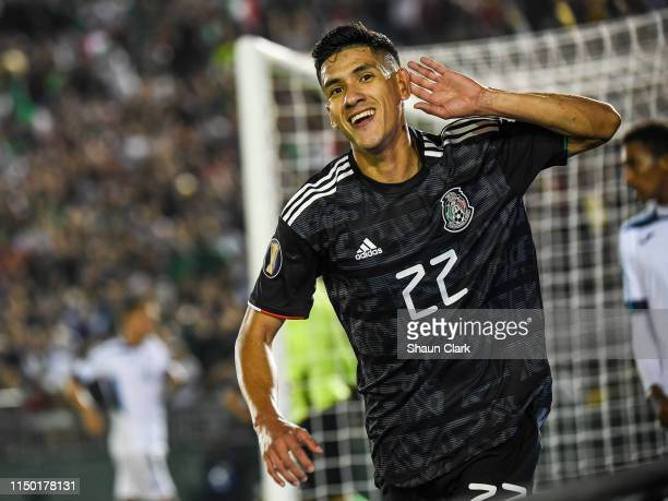 Uriel Antuna of Mexico celebrates his hat trick during the 2019 CONCACAF Gold Cup Group A match between Mexico and Cuba at the Rose Bowl on June 15,...