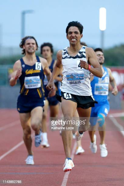 Uriel Rosales Marin crosses the finish line during the first section of the men's 1500 meter run on the first day of the 61st Mt SAC Relays at...