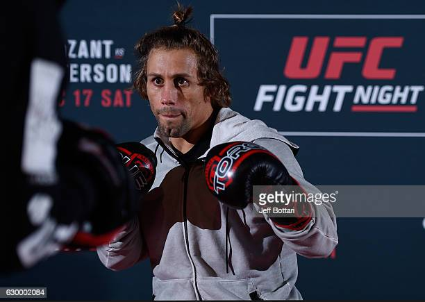Urijah Faber holds an open training session for fans and media at the Golden 1 Center on December 15 2016 in Sacramento California