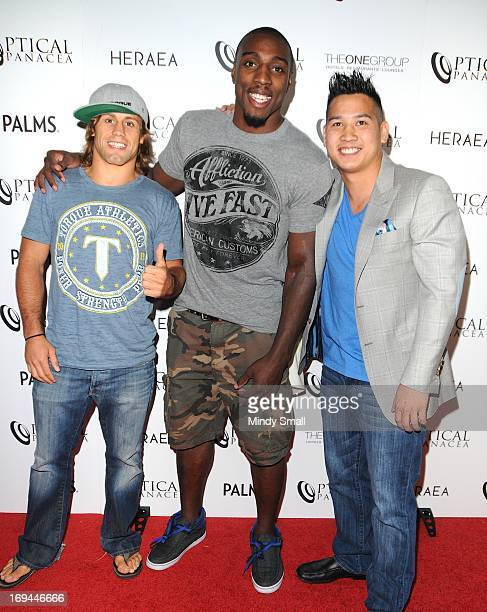 Urijah Faber, Phil Davis and Sam Hon attend the Optical Panacea Launch Party at HERAEA at the Palms Casino Resort on May 24, 2013 in Las Vegas,...