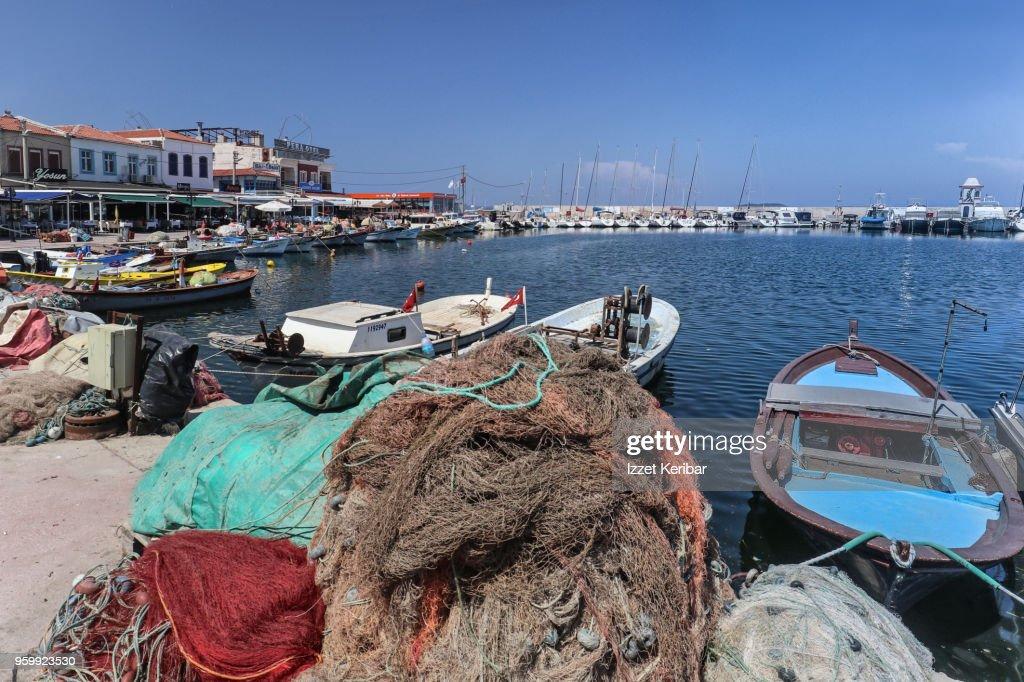 Urla village small port and boats, Izmir Turkey : Stock-Foto
