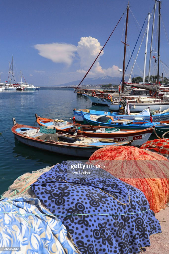 Urla village small port and boats, Izmir Turkey : Stock Photo