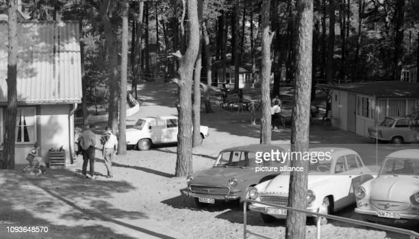 Urlauber genießen ihre Ferien in Trassenheide an der Ostsee im August 1970 Vorn sind Fahrzeuge der Typen Skoda MB 1000 Wartburg 311 und Trabant 500...