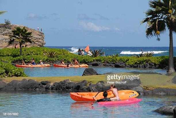 Urlauber, Grand Hyatt-Hotel, Kauai, Hawaiian Island, Insel, Süd-Pazifik, Poipu-Beach, Kajak, fahren, Pool, Meer, Wasser, Küste, Palmen, Palme, Natur,...