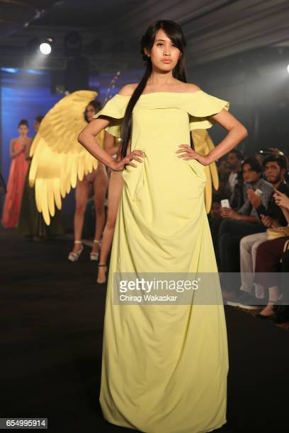 Urmila Shagolsem walks the runway at the Keith Jackson show during India Intimate Fashion Week at Hotel Leela on March 18 2017 in Mumbai India