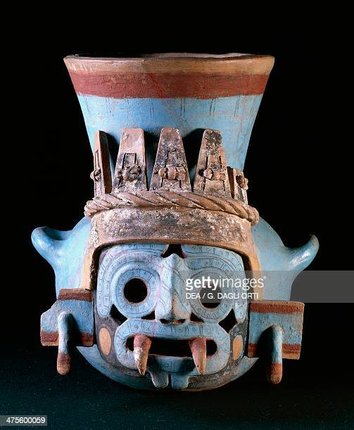 Urn depicting Tlaloc the rain god polychrome ceramic height 35 cm from Tomb No 21 at Templo Mayor Tenochtitlan Mexico Aztec civilisation 15th century...