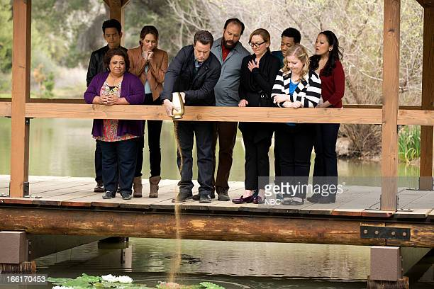 GO ON 'Urned Run' Episode 122 Pictured John Cho as Steven Tonita Castro as Fausta Laura Benanti as Lauren Matthew Perry as Ryan King Brett Gelman as...