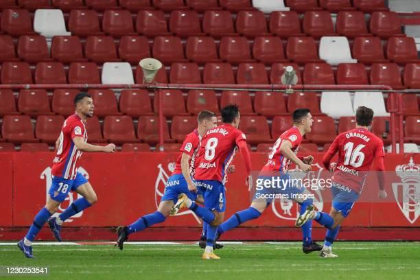 Uros Djuka of Real Sporting de Gijon celebrates 1-0 with Javi Fuego of Real Sporting de Gijon, Pedro Diaz of Real Sporting de Gijon, Jose Gragera of...