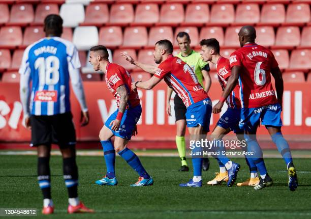 Uros Djurdjevic of Real Sporting Gijon celebrates after scoring goal during the Liga Smartbank match betwen Real Sporting and RCD Espanyol de...