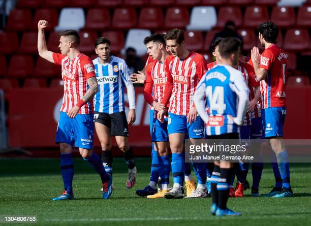 Uros Djurdjevic of Real Sporting Gijon celebrates after scoring goal during the Liga Smartbank match between Real Sporting and RCD Espanyol de...