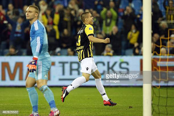 Uros Djurdjevic of Vitesse Jasper Cillessen of Ajax during the Dutch Eredivisie match between Vitesse and Ajax at the Gelredome on february 1 2015 in...