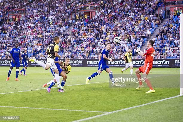 Uros Djurdjevic of Vitesse scores a goal for Vitesse Kurt Zouma of Chelsea Uros Djurdjevic of Vitesse Dominic Solanke of Chelsea Marcus Pedersen of...