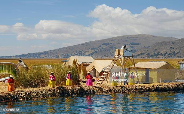 uros islands, lake titicaca, puno - lookout tower stock pictures, royalty-free photos & images