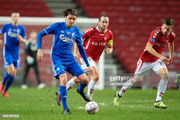 Uros Matic of FC Copenhagen in action during the test match between FC Copenhagen and Vejle Boldklub in Telia Parken Stadium on January 18 2018 in...